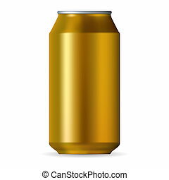 Realistic gold aluminum can isolated on a white background