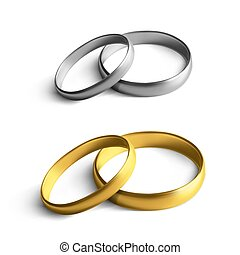 Vector Luxury Silver And Gold Wedding Marriage Rings Isolated On