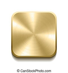 Realistic gold button with circular processing. Vector ...