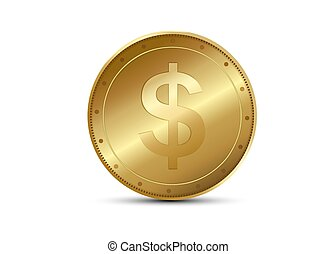 Realistic Gold coin. Metallic coin. Finance concept for...