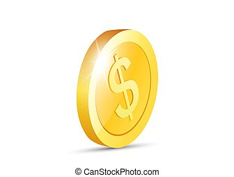 Realistic Gold coin. Metallic coin. Vector illustration