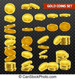 Realistic Gold Coins DarkTransparent Set - Gold coins with...