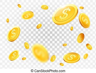 Realistic Gold coins explosion. Isolated on transparent...