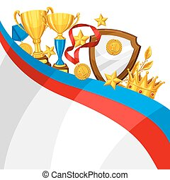 Realistic gold cup and other awards. Background with place...