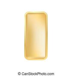 Realistic gold ingot isolated on white background