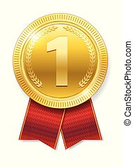 Realistic Gold medal with red ribbons for Winner isolated. Honor prize. Vector illustration