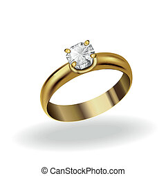 realistic gold ring with a diamond on a white background