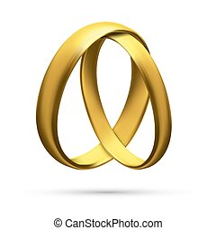 Realistic Gold Wedding Rings Isolated on Background