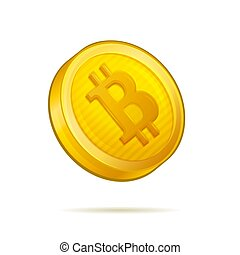 Realistic Golden Bitcoin Coin on White Background. Vector