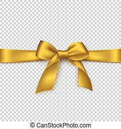 Realistic golden bow and ribbon.