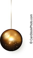 Realistic golden Christmas Ball isolated on a white background. Festive Gold Xmas design element.