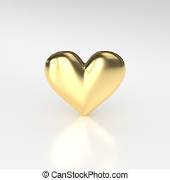 Golden Heart. 3D Render on White Background