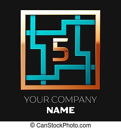Realistic Golden Number Five logo symbol in the cyan-golden colorful square maze shape on black background. The logo symbolizes labyrinth, choice of right path. Vector template for your design