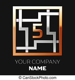 Realistic Golden Number Five logo symbol in the silver-golden colorful square maze shape on black background. The logo symbolizes labyrinth, choice of right path. Vector template for your design
