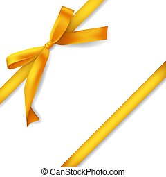 realistic golden ribbon with bow, decoration for gift boxes, design element