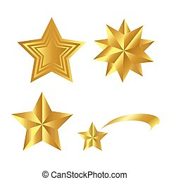 Realistic Golden Stars Vector Set Isolated on White Background. Glossy 3D Christmas star icon. Design element for design, card, invitation, print.