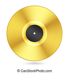 realistic golden vinyl disc on white