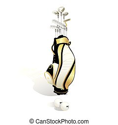 Golf bag and clubs isolated on white background. Vector illustration.