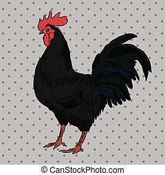 Realistic gorgeous rooster side view