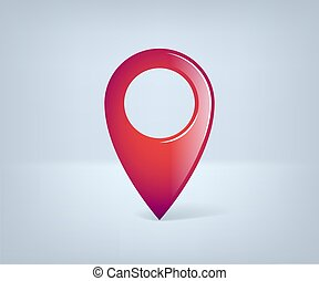 Realistic GPS pointer. Red point icon. Vector illustration.