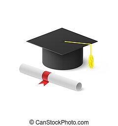 Realistic graduation hat and rolled diploma with red ribbon. Vector illustration isolated on white background