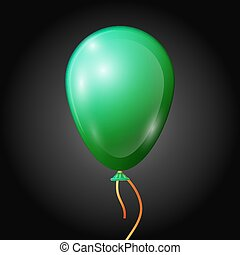 Realistic green balloon with ribbon isolated on black background. Vector illustration of shiny colorful glossy balloon