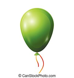 Realistic green balloon with ribbon isolated on white background. Vector illustration of shiny colorful glossy balloon