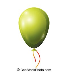 Realistic green balloon with ribbon isolated on white background.