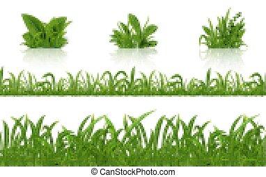 Realistic green grass. 3D fresh spring plants set. Vector ...
