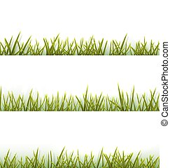 Realistic green grass collection isolated on white