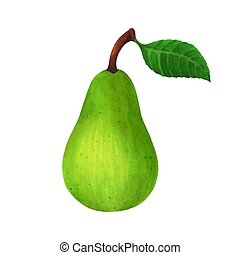 realistic green pear isolated on white background. Vector illustration