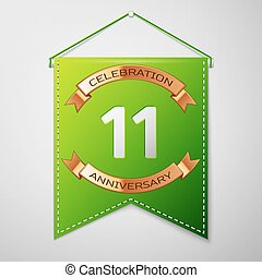 Realistic Green pennant with inscription Eleven Years Anniversary Celebration Design over a grey background. Golden ribbon. Colorful template elements for your birthday party. Vector illustration