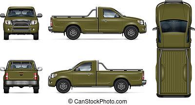Realistic green pickup truck vector illustration