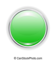 realistic green plastic button with patch of light and metal frame isolated