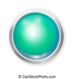 realistic green shiny plastic button with patch of light and metal elements