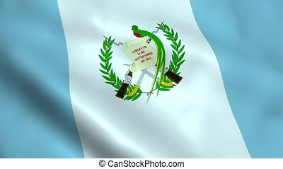 Realistic Guatemala flag waving in the wind. Seamless looping.