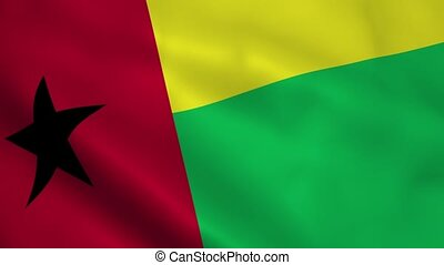 Realistic Guinea-Bissau flag waving in the wind. Seamless...
