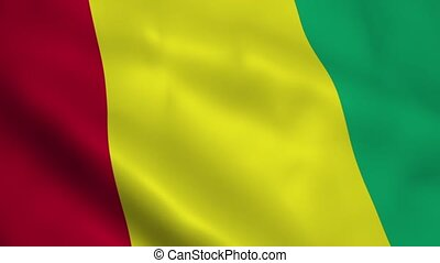Realistic Guinea flag waving in the wind. Seamless looping.