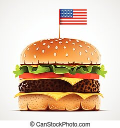 Realistic hamburger with cheese lettuce and tomato. Cheeseburger with usa flag as american food symbol.