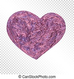 Realistic Hand-Drawn Glittering Heart for Celebratory Decoration.