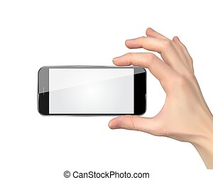 Realistic Hand holding mobile phone isolated on white background. Vector Illustration