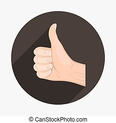 Realistic hand with thumbs up icon