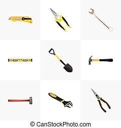 Realistic Handle Hit, Scissors, Claw Vector Elements. Set Of Tools Realistic Symbols Also Includes Hammer, Construction, Clippers Objects.