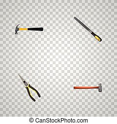 Realistic Handle Hit, Sharpener, Nippers Vector Elements. Set Of Tools Realistic Symbols Also Includes Claw, Emery, Hammer Objects.