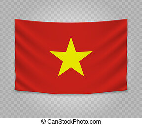 Realistic hanging flag of Vietnam. Empty fabric banner ...