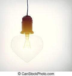 Realistic Hanging Glowing Lightbulb Romantic Concept