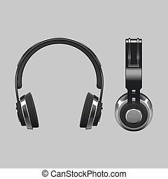 Realistic headphones design - 3d vector illustration isolated