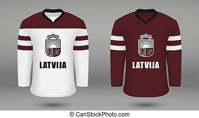 Realistic hockey kit team Latvia, shirt template for ice ...