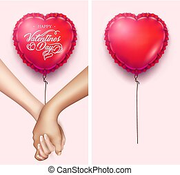 Realistic holding hands, heart shape air balloon