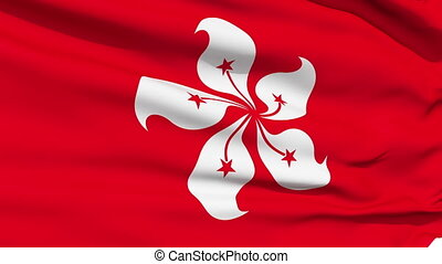 Realistic HongKong flag in the wind